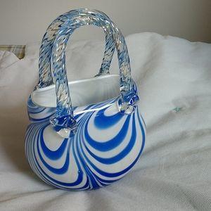 "7.75 "" Stretched art glass purse figure"